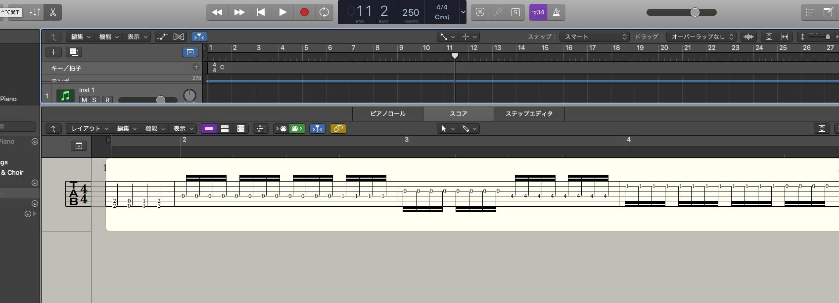 【Logic Pro X】TAB譜を表示する方法・ベース、7弦、変則チューニング対応